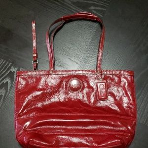 Coach Red zippered tote